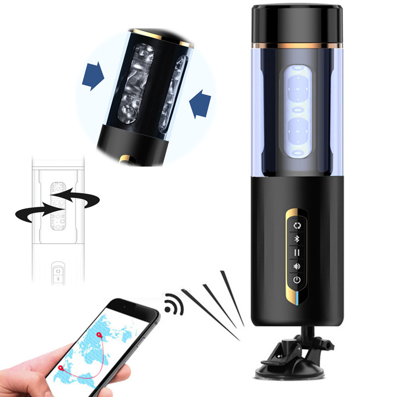 Male Masturbators Bluetooth Automatic Rotation  Voice Interaction 5 Speed 7 Frequency Electric Masturbation Cup Sex Toys for Men