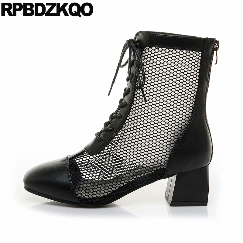 cutout cut out short beige lace up black fashion sandals ankle square toe mesh shoes summer women boots medium heel chunky 2018