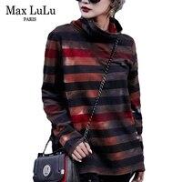 Max LuLu 2018 Luxury Korean Brand Girls Camouflage Streetwear Womens Turtleneck T Shirts Cotton Striped Tees Woman Winter Tshirt