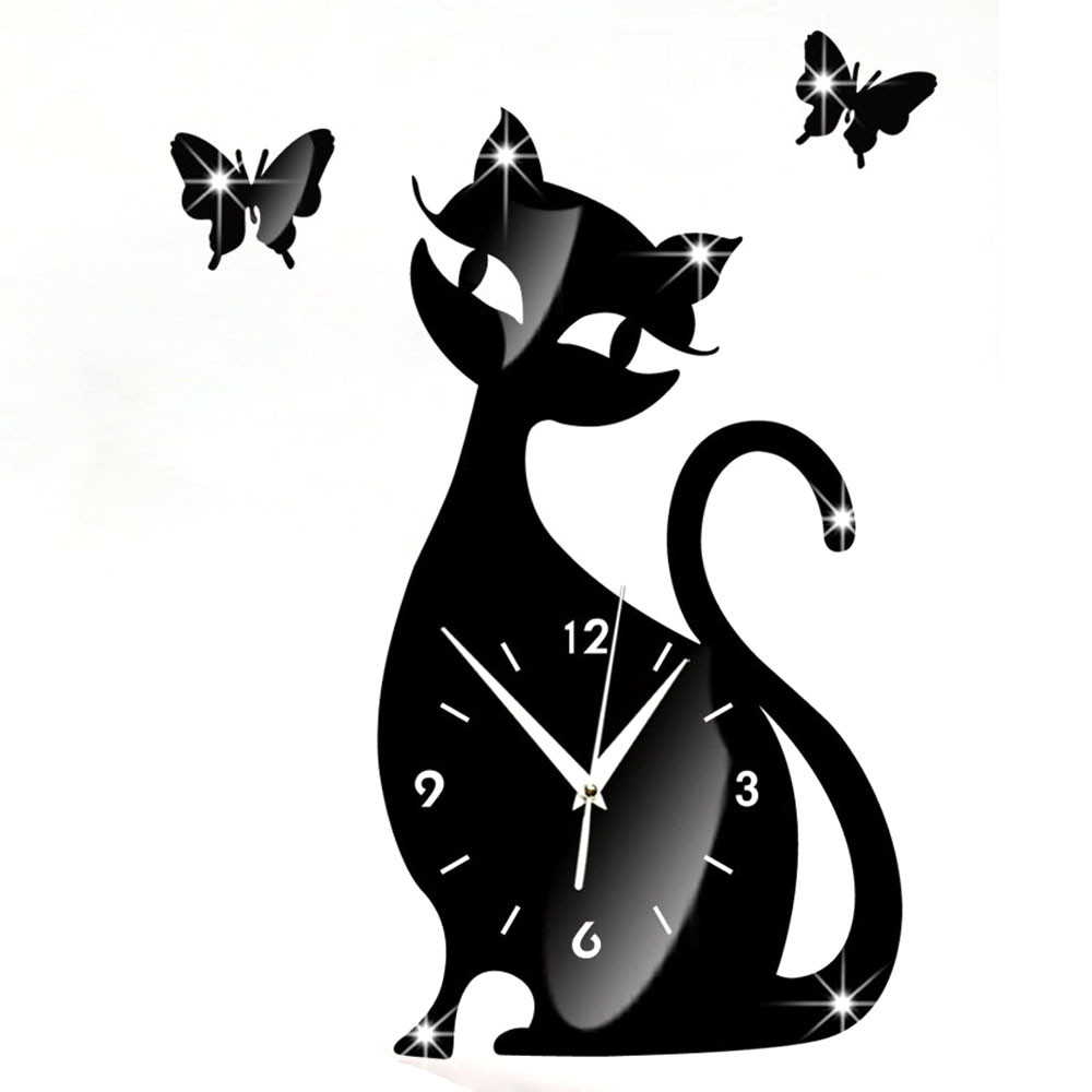 Cute cat butterfly mirror black wall clock modern design home cute cat butterfly mirror black wall clock modern design home decor watch wall sticker in wall stickers from home garden on aliexpress alibaba group amipublicfo Gallery