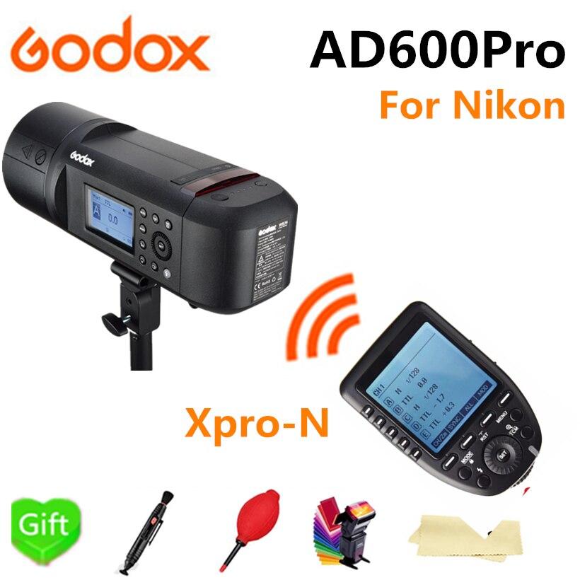 Godox AD600Pro TTL extérieur li-batterie 2.4G sans fil X système Studio Flash lumière stroboscopique + xpro-n Flash déclencheur pour appareil photo Nikon
