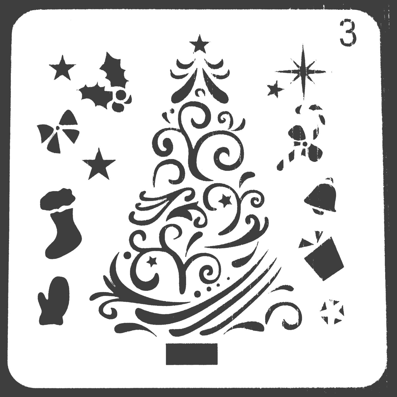 Merry Christmas Tree Stencils For Painting Scrapbooking