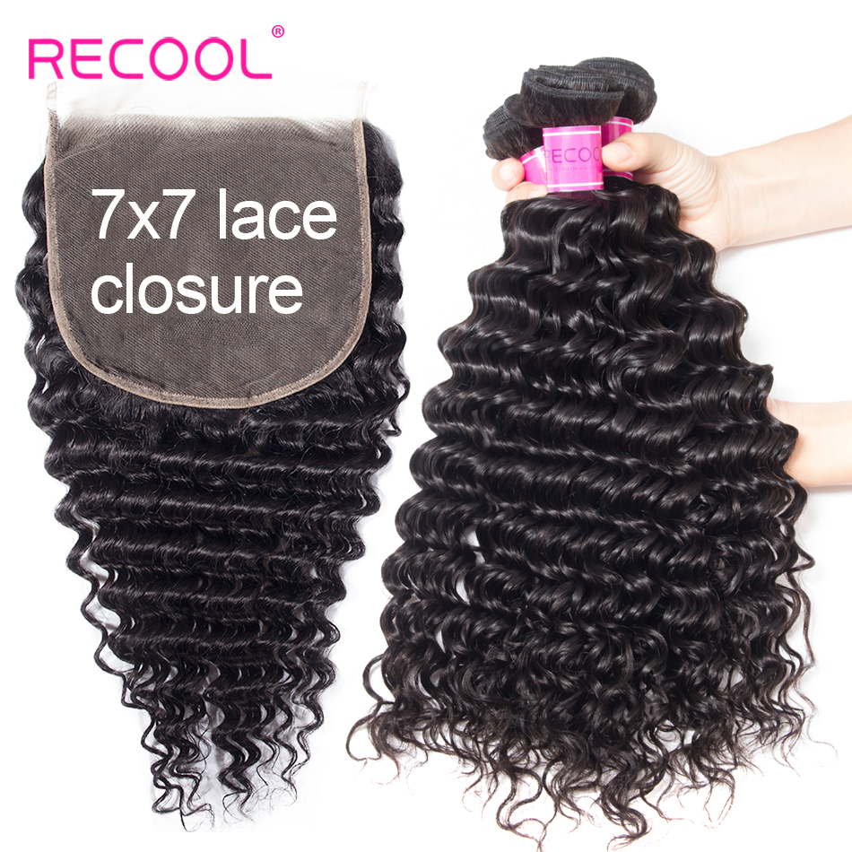 Recool Deep Wave Bundles With 7x7 Lace Closure Brazilian Hair Weave 3 Bundles With Closure Curly