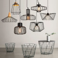 Retro indoor lighting Vintage pendant light LED lights  loft pyramid lamp metal cage with led bulb