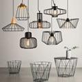 Retro indoor lighting Vintage pendant light LED lights  loft pyramid lamp metal cage with led bulb
