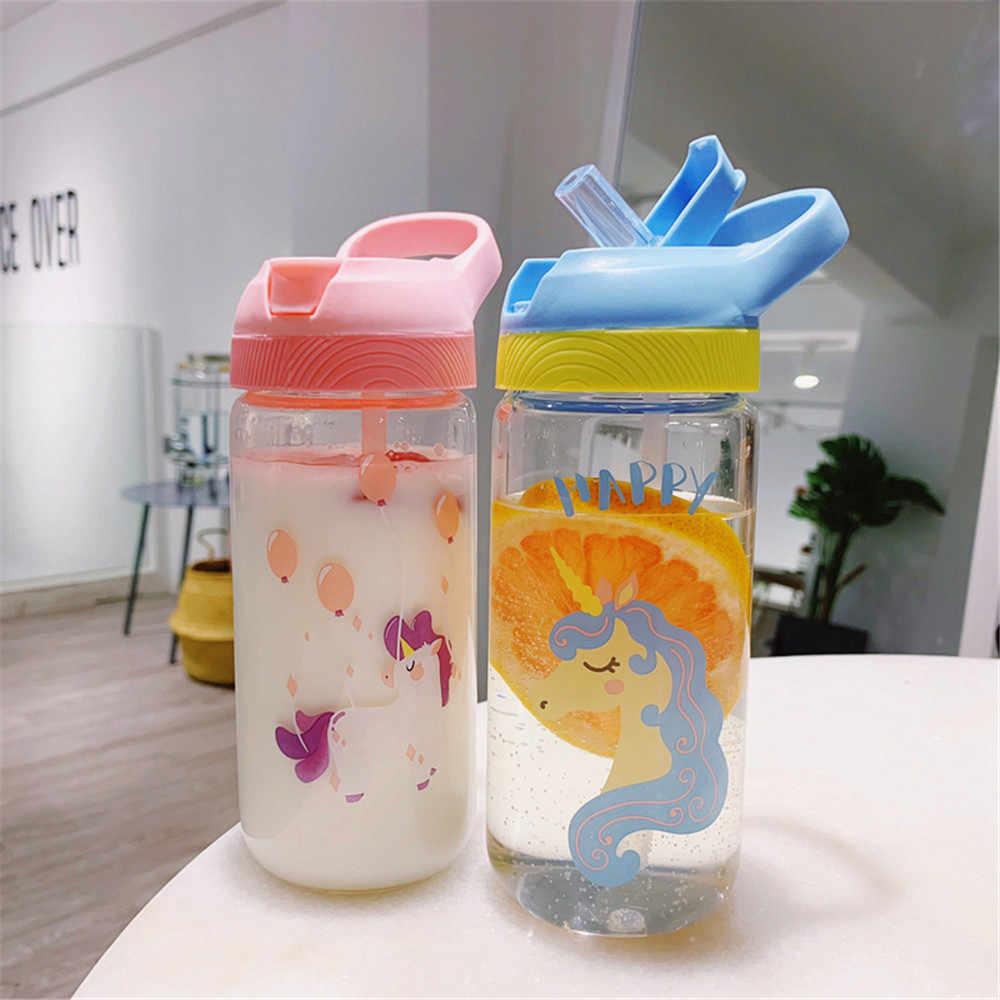500 мл стеклянные бутылки для воды Студенческая Милая мультяшная соломинка с узором чашка студенческий портативный сок, кофе бутылки для воды молока