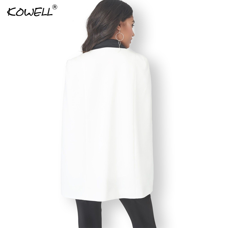 Sexy ladies blazer cape coat Women deep v neck autumn elegant sleeveless vest femme suit jacket Casual cloak jacket