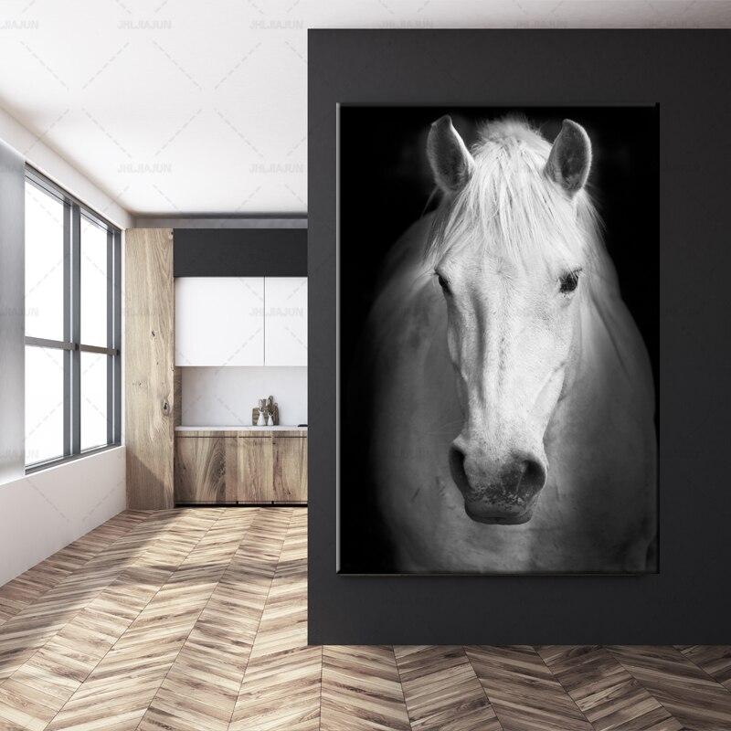 Art moderne Animal blanc cheval noir et blanc photo mur Art toile affiche murale photo pour salon moderne décor à la maison - 3