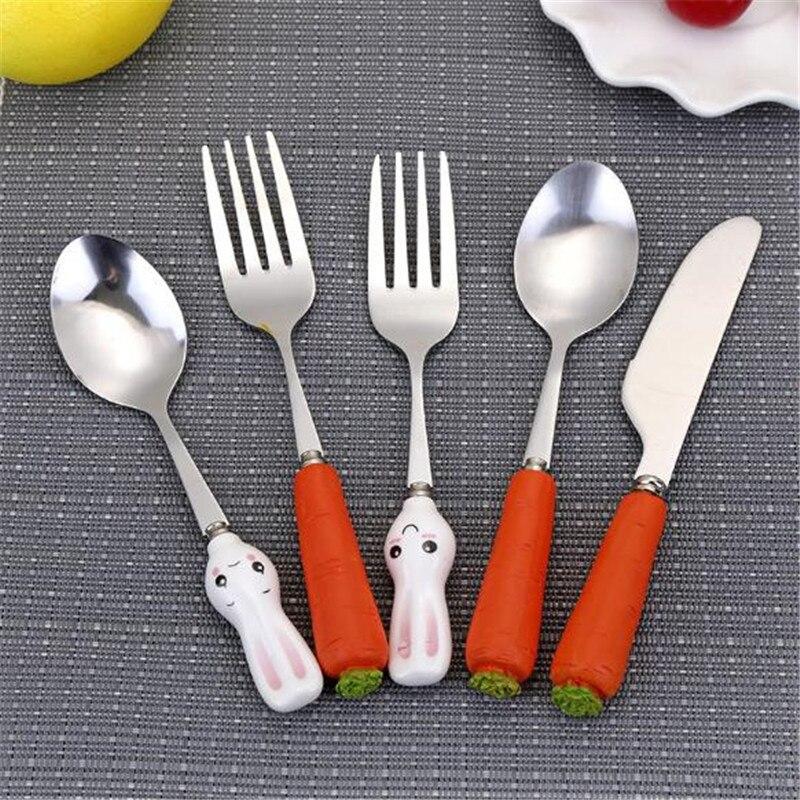 Cute Cartoon Western Food Tablewares Infant Food Feeding Tableware Baby Stainless Steel Spoon Knife Fork Dinnerware