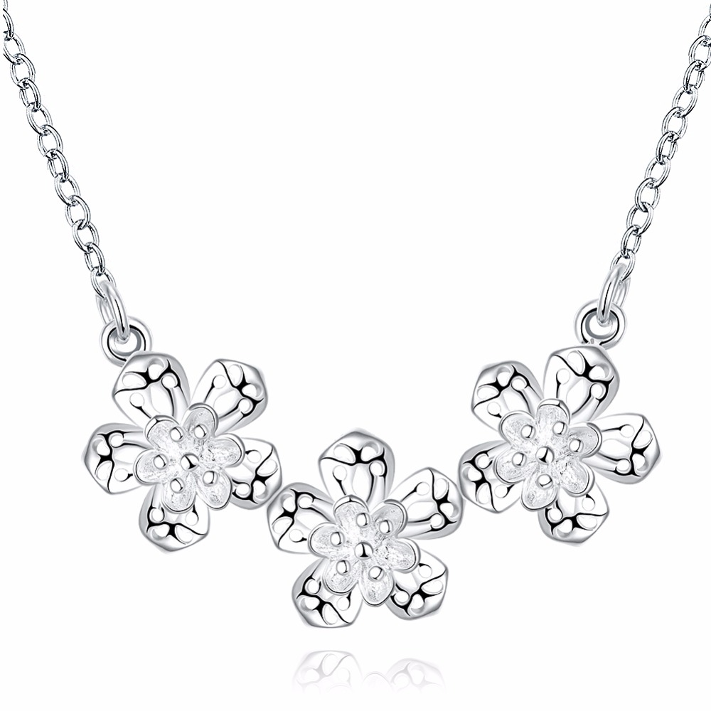 bf8c5030b Yx339 novo estilo colar de prata moda jóias pingente de flor colares para  as mulheres 2016 acessórios do casamento frete grátis