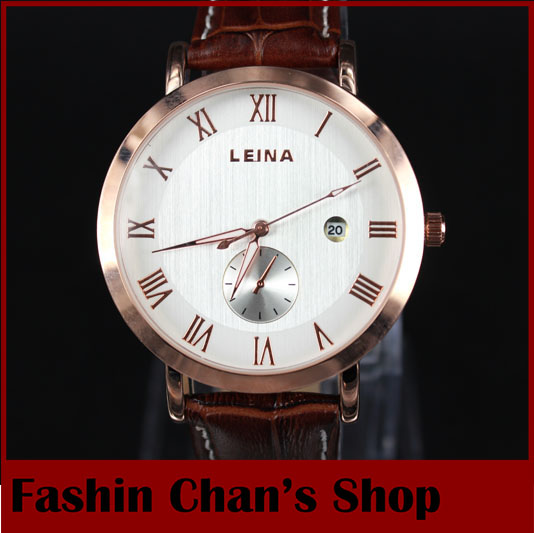 fashion 2015 business quartz watches men real leather gold case watch male clock Leina - Fashion Chan's Shopping Mall store
