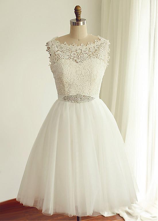 Robe de Mariee Lace & Tulle Short Wedding Dress Bead Belt Vestido de Noiva Bride Dress Simple Abiti da Sposa Boda