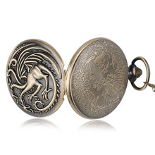 Antique Style Game of Thrones  House Targaryen Three Head Dragon Quartz Pocket Watch  Women Men Necklace Clock Pendant Gifts