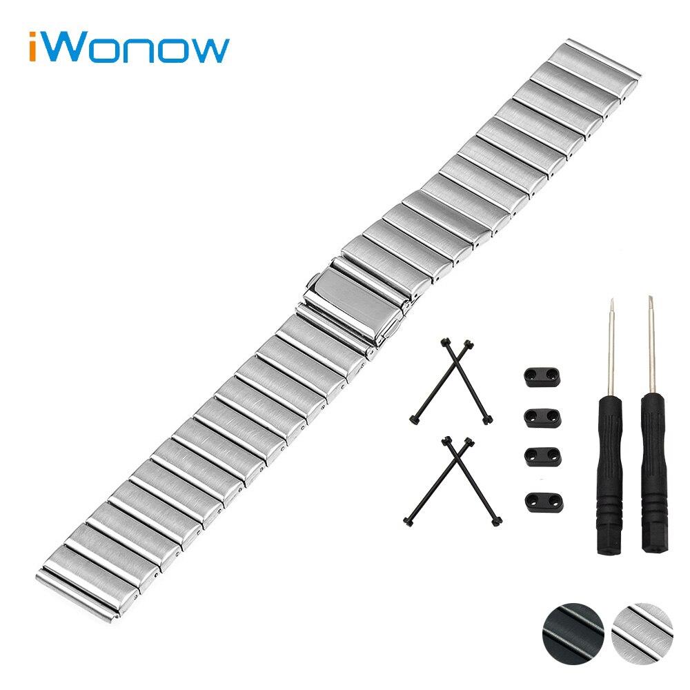 цены на Stainless Steel Watch Band 24mm for Suunto Core Folding Buckle Strap Wrist Belt Bracelet Black Silver + Lug Adapter + Tool