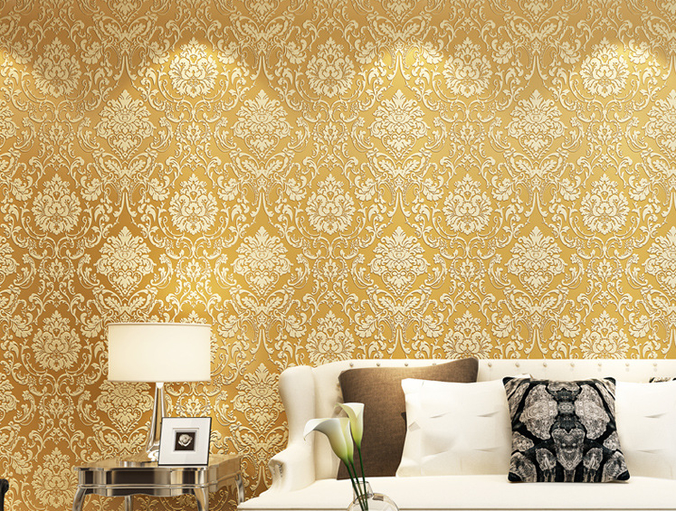 Buy european style wallpaper home decor for Gold wallpaper living room