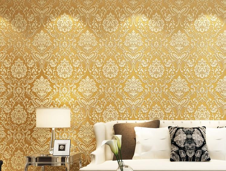 Buy european style wallpaper home decor for Gold wallpaper for home