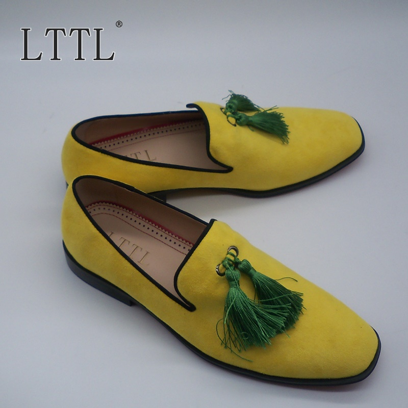 LTTL/Желтые Замшевые мужские мокасины ручной работы; модные мокасины без застежки; обувь с кисточками; роскошные мужские вечерние туфли из на... - 5