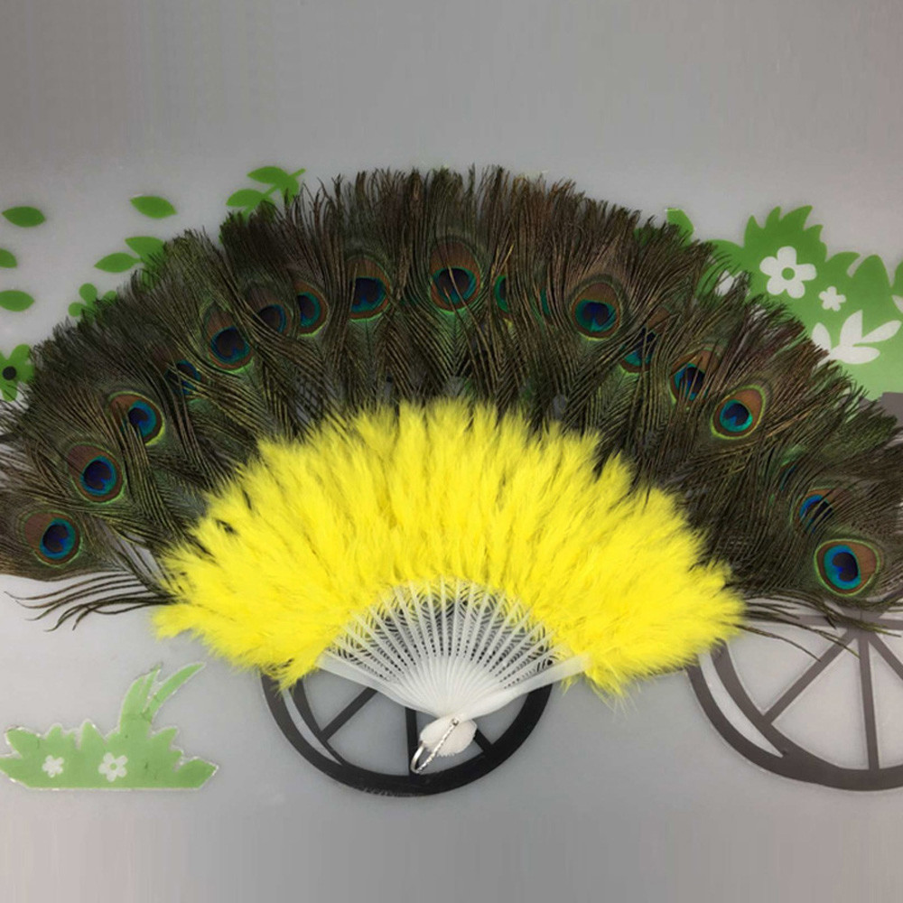 Vintage Peacock Feather Chinese Fans Wedding Showgirl Dance Chinese Fan Elegant Large Feather Folding Hand Fan Decor Decal