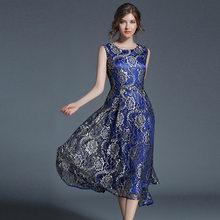 c1c6fc9fd8a Для женщин новые летние Кружевное Платье голубое платье длинные Элегантное  платье модные платья vestidos Женская обувь высокого .
