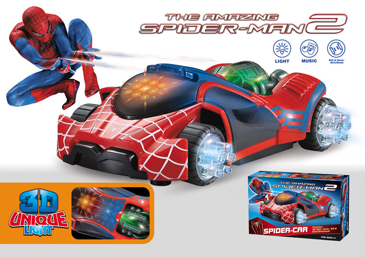 Super Power 3D Light Music Flash Electric Universal Spider-man Car Toy LED Luminous Sound Fighting Vehicle Toys Kids Child Gift