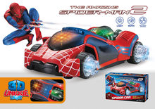Super Power 3D light music flash electric universal spider-man car toy LED luminous sound Fighting vehicle toys kids child gift(China)