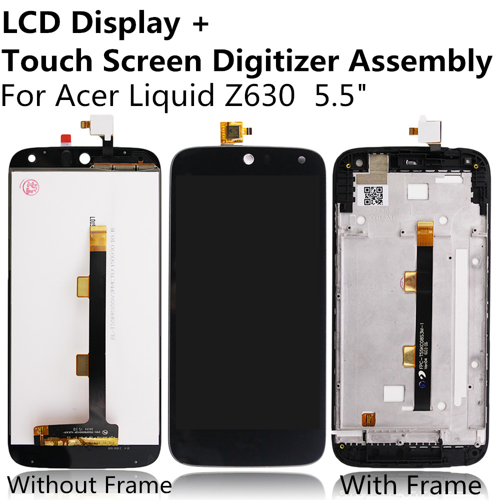 LCD Display + Touch Screen Digitizer Panel Glass Lens Assembly with / without Frame For Acer Liquid Z630 Replacement Repair Part