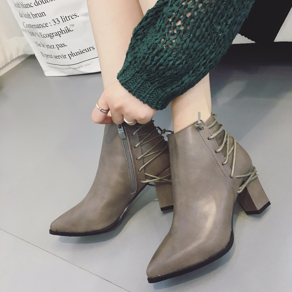 2016 Women s Boots Winter Chelsea Boots fashion high heel boots Genuine leather zip Warm Ankle