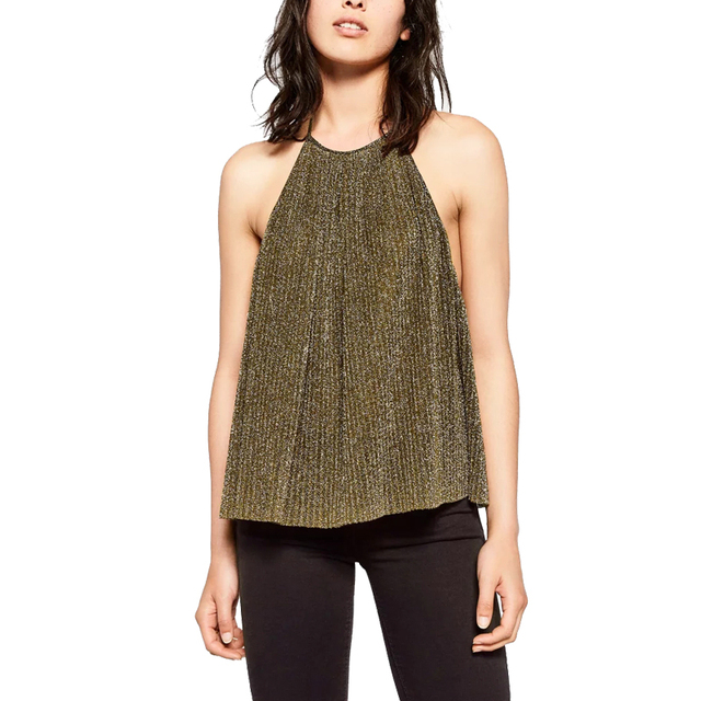 2017 Sexy Metal Crop Top Summer Backless Halter Gold/Silver Sequined tank tops Elegant sleeveless party tops Vest Camisole