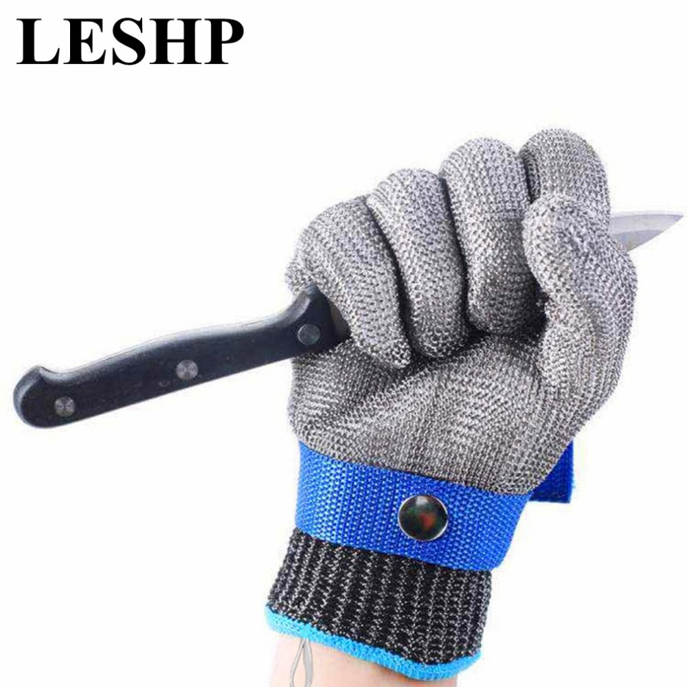 Level 5 Protection Anti-cut Gloves Safety Cut Proof Stab Resistant Stainless Steel Wire Metal Mesh Butcher Safety Work Gloves 1pair lot anti cut gloves cotton yarn safety cut resistant glove anti stab plastic non slip protection gloves durable gst020