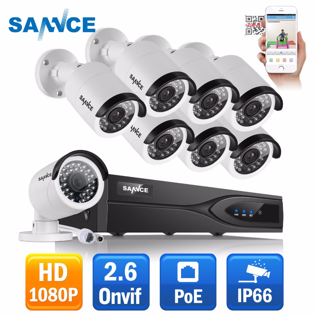 SANNCE 1080P PoE network CCTV Security system (8) 2.0MP Outdoor IP Camera Waterproof P2P Onvif video surveillance Kit 2TB HDDSANNCE 1080P PoE network CCTV Security system (8) 2.0MP Outdoor IP Camera Waterproof P2P Onvif video surveillance Kit 2TB HDD