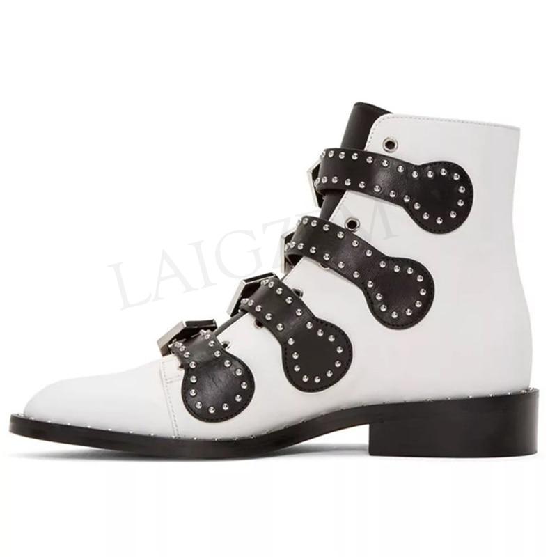 LAIGZEM mode femmes bottines moto bottes bas talon Chunky bottes Rivets boucle dames chaussures Botines Mujer grande taille 34-47