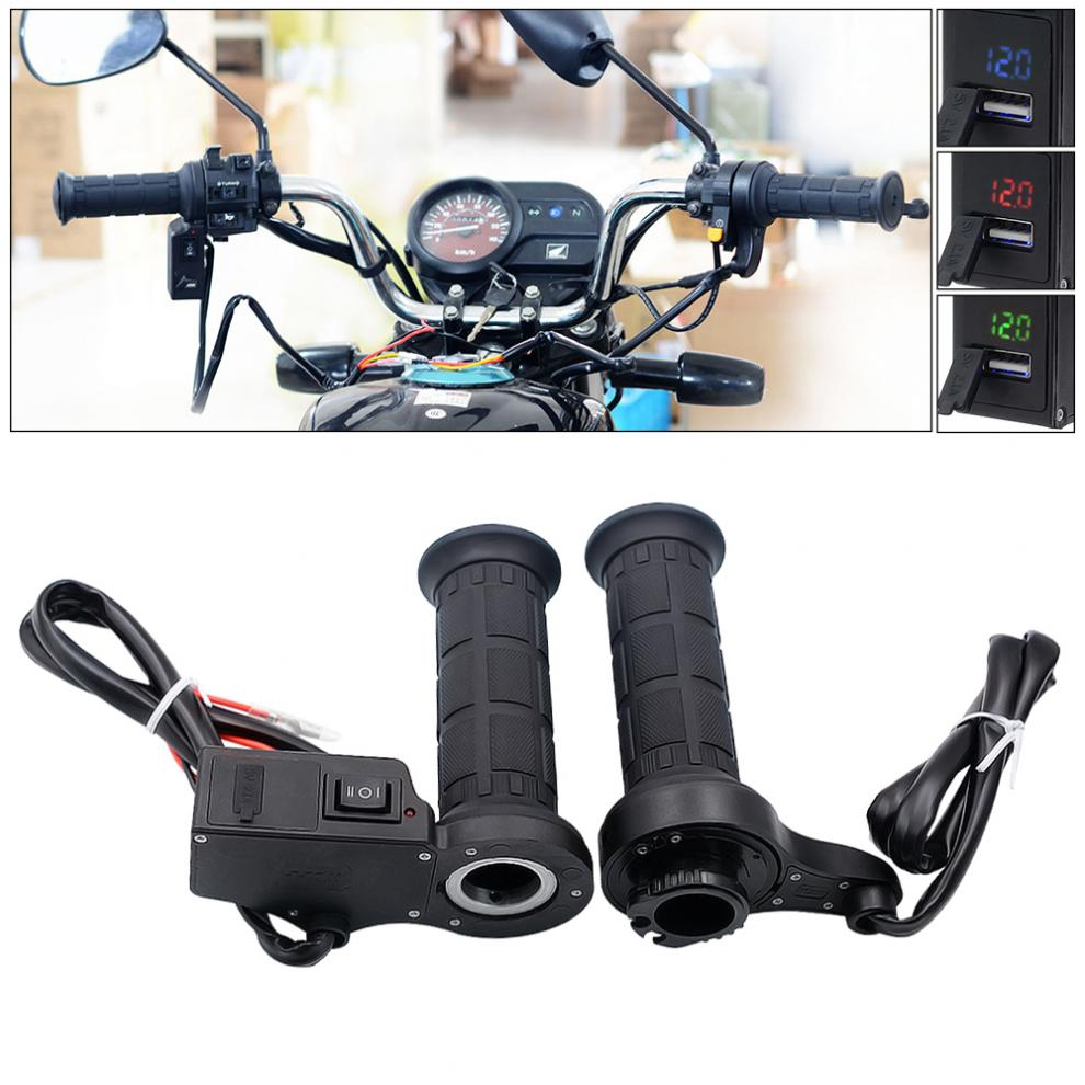 12V 26W 22MM Multifunction Motorcycle Adjustable Temperature Electric Heated Handle with Accelerator Cards Pieces and Voltmeter