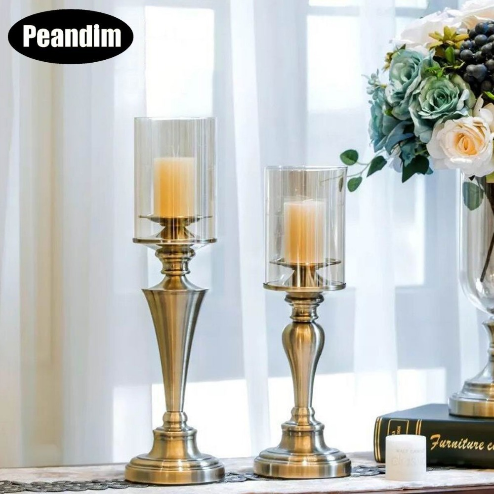Candle Holder Alloy Candlestick Cafe Home Decorations-A Candles & Holders