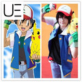 Anime Pokemon Ash Ketchum Trainer Cosplay Traje Camisa de La Chaqueta + guantes + hat