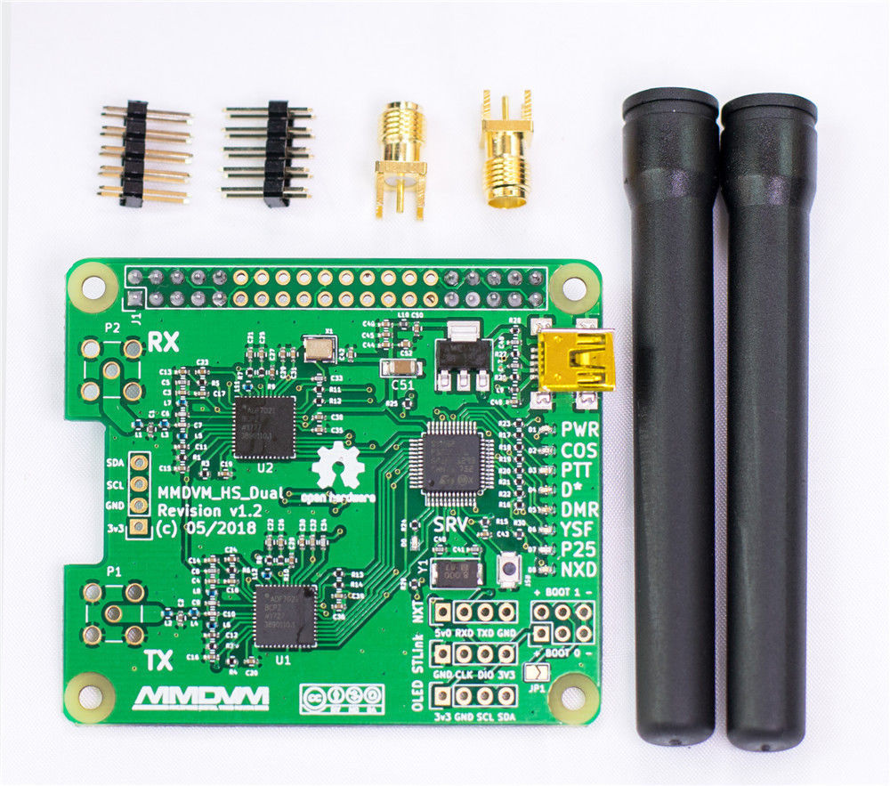 2019 V1.3 MMDVM_HS_Dual_Hat Duplex Hotspot board +2pcs Antenna Support P25 DMR YSF NXDN For Raspberry pi(China)