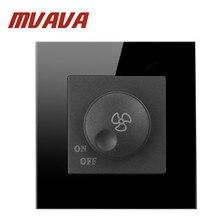 Роскошные mvava 500 Вт Кнопка Черный Кристалл Панель переключатель вентилятора Скорость регулирование переменного тока 110~ 250 В дома стены выключатель и Скорость вентилятора диммер
