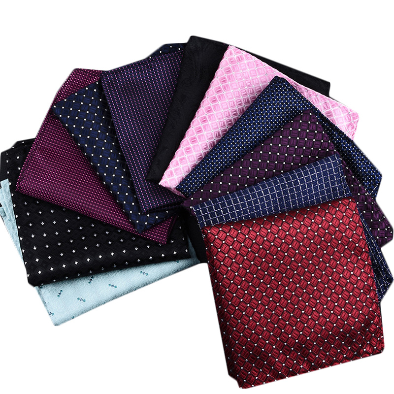 New 50 Colors Handkerchiefs Woven Plaid Paisly Striped Hanky Men's Business Casual Square Pockets Handkerchief Wedding Hankies