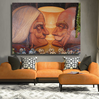QK ART Frameless Pictures Optical Illusion Painting Oil Painting On Canvas Wall Paintings For Living Room