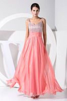 Elegant V Neck A Line Luxury Beaded Pink Bridemaid Dresses Long Chiffon Prom Dresses Wedding Party Gowns