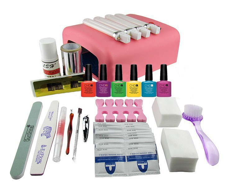 ФОТО EM-127 DIY UV Gel Polish Set Soak Off Gel Kit UV 36W Curing Lamp File Nail Art Tools  free shipping