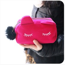 Cute Cat Cosmetic Bag Women Necessaire Make Up Bag Travel Portable Beauty Pouch Flannel Toiletry Kits For Women Girls 50pcs lot cosmetic bag women necessaire make up bag travel portable dot print makeup case toiletry kits