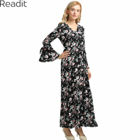 Readit Maxi Dress Women Long Flute Sleeve Vintage Black Floral Print Maxi Dress Long Dresses Plus