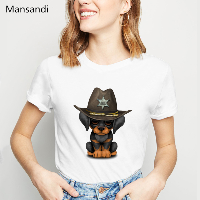 Cute Doberman Puppy Dog Sheriff Printed t shirt women summer tops vogue funny tshirt femme korean style clothes female t-shirt