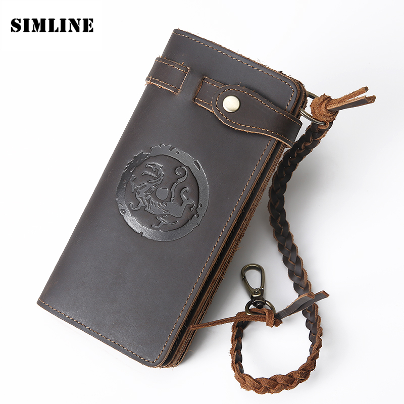 SIMLINE Vintage Handmade Genuine Crazy Horse Leather Cowhide Men Long Clutch Wallet Wallets Purse With Chain Rope Zipper Pocket long wallets for business men luxurious 100% cowhide genuine leather vintage fashion zipper men clutch purses 2017 new arrivals