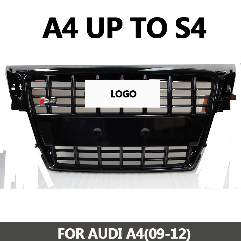 B8 Grill S4-Styling A4 ABS Black Painted Front Honey Mesh Grille for Audi A4 S4 RS4 B8 Sedan / Coupe / Convertible 2009-2012 17pcs error free led bulb for audi a4 s4 rs4 b8 quattro sedan interior dome map light kit license plate lamp 2009 2015