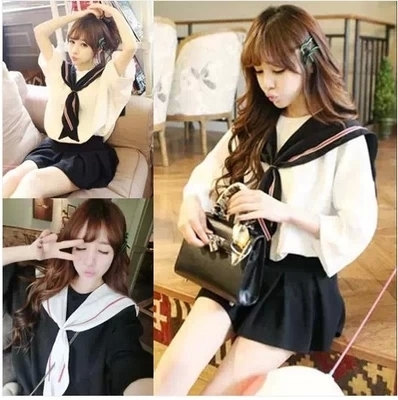 2016 Summer Girls Lolita White&Black Navy style dress Chiffon Fashion Uniform Sailor collar Cute Japan Women Lovely Loose Dress