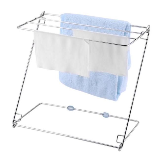 Kitchen Towel Racks Cleaning Cloth Drying Desktop Foldable Shelves Stainless Steel Stand Rack For