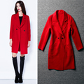 S-XXXL Multi Color Optional High Quality Fashion Long Sleeved Loose Cashmere Wool Coat 2015 New European Winter