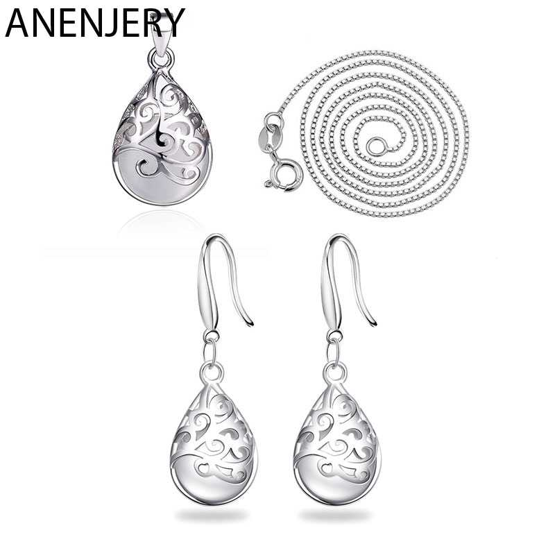 ANENJERY 925 Sterling Silver Jewelry Sets Moonstone Opal Tears Totem Necklace+Earrings For Women Gift