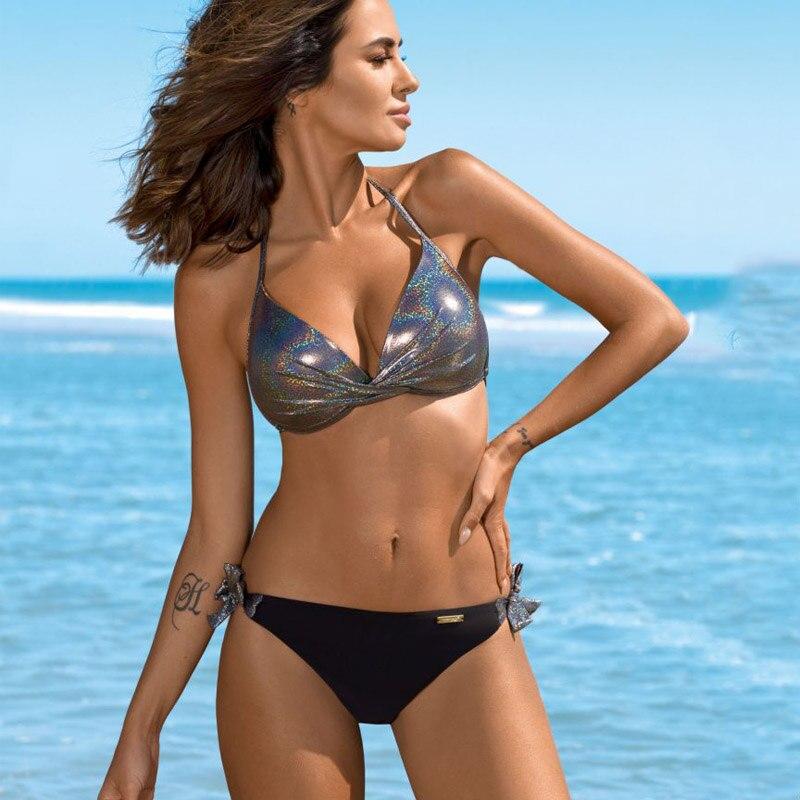 HTB1kFUNNYvpK1RjSZPiq6zmwXXaC Bikinis 2019 Plus Size Swimwear Women Sexy Halter String Shiny Bordered Bathing Suit Push Up Swimsuit Lace Up Twist Bikini Set